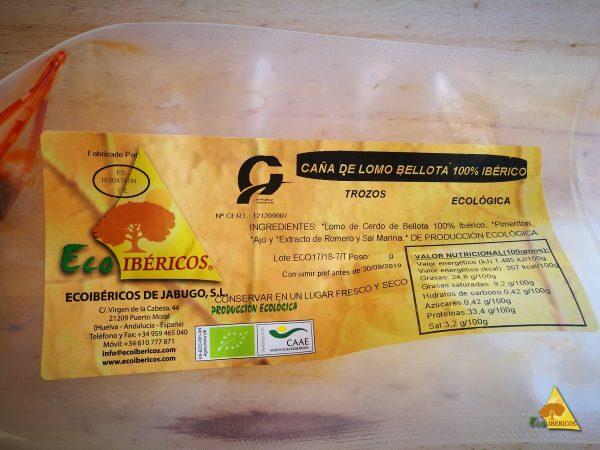 Caña de lomo ecológica bellota 100% ibérica. ECOIBÉRICOS® Media caña 0,50 Kg