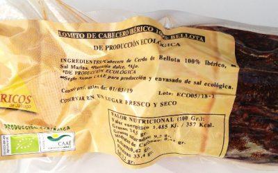 LOMITO ECOLÓGICO DE CABEZA DE LOMO 100% IBÉRICO DE BELLOTA. ECOIBÉRICOS® 0,50Kg