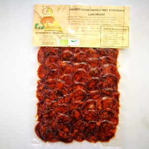 Organic EXTRA Chorizo 100% iberico. ECOIBÉRICOS® 100g a fette