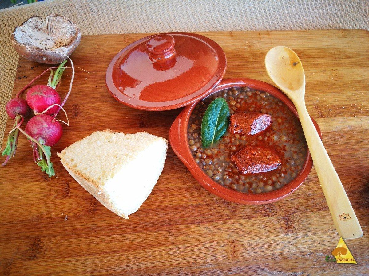 lentejas con chorizo ibérico 100% ecológico de bellota - ECOIBÉRICOS
