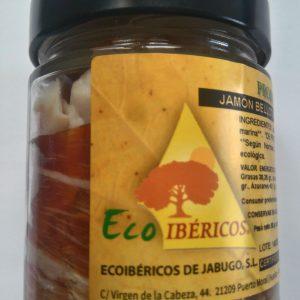 Jambon de gland 100% ibérique biologique tranché à la main et emballé sous vide dans un bocal en verre. Poids net, 80g