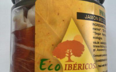 Jamón bellota 100% ibérico Ecológico loncheado a mano y envasado al vacío en TARRO DE VIDRIO. Peso neto, 80g